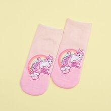 1pair Cartoon Unicorn Socks
