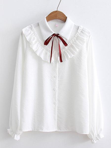 Milanoo Camisa Lolita Dulce Volantes Arcos Manga Larga Top Lolita