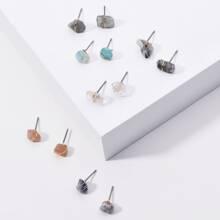 6pairs Natural Stone Stud Earrings