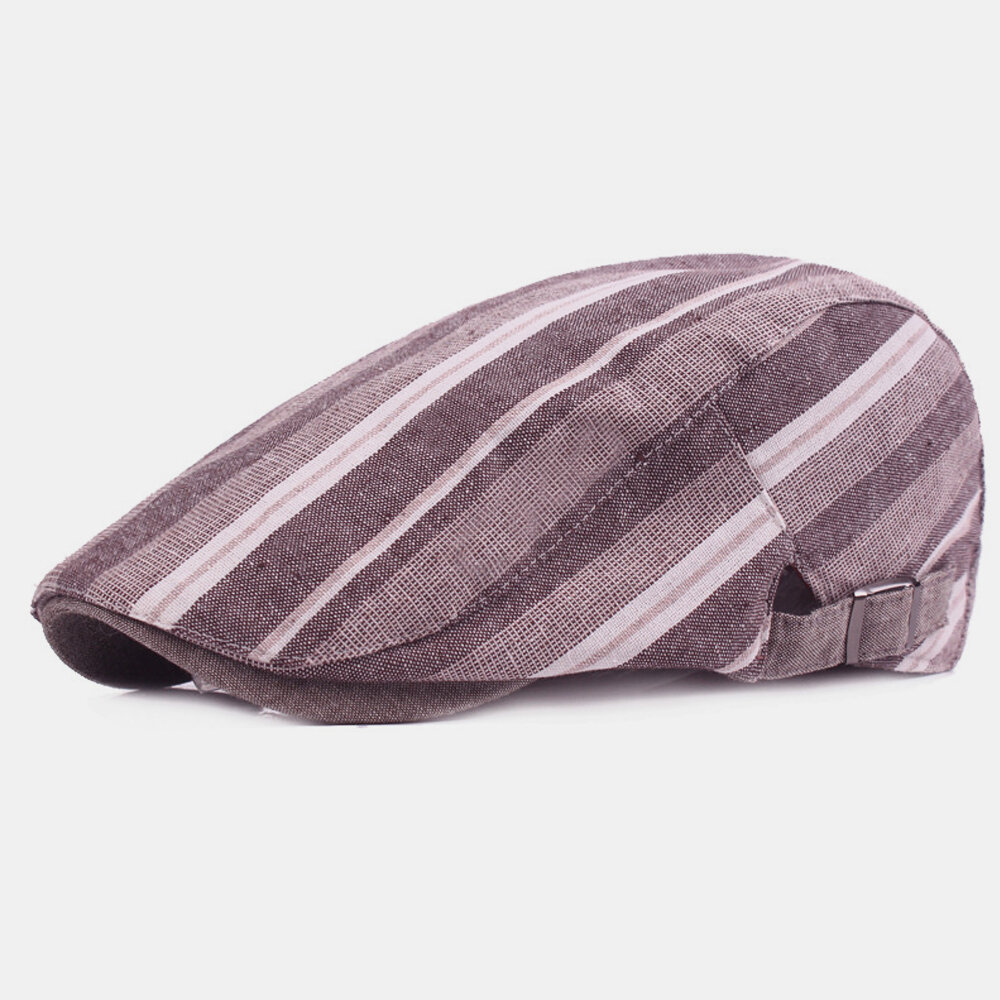 Cotton Linen Beret Casual Forward Hat Colorful Striped Sun Hat