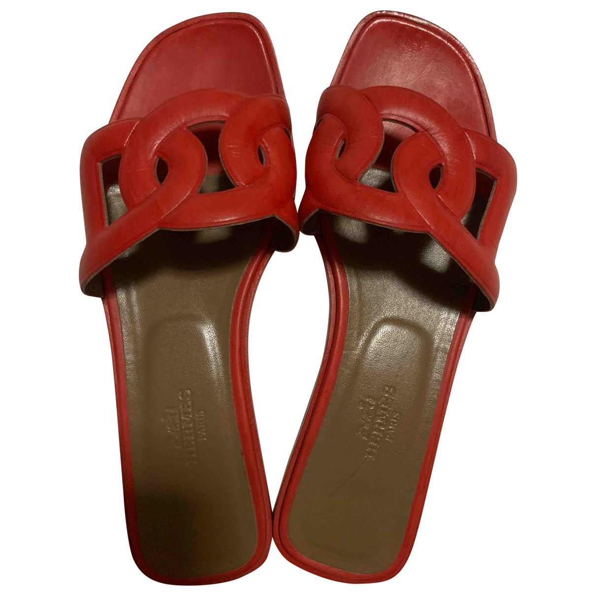 Hermes - Sandales   pour femme en cuir - rouge