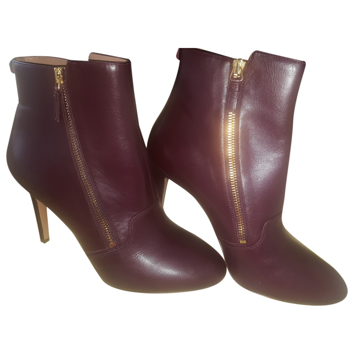 Twin Set \N Burgundy Leather Ankle boots for Women 41 EU