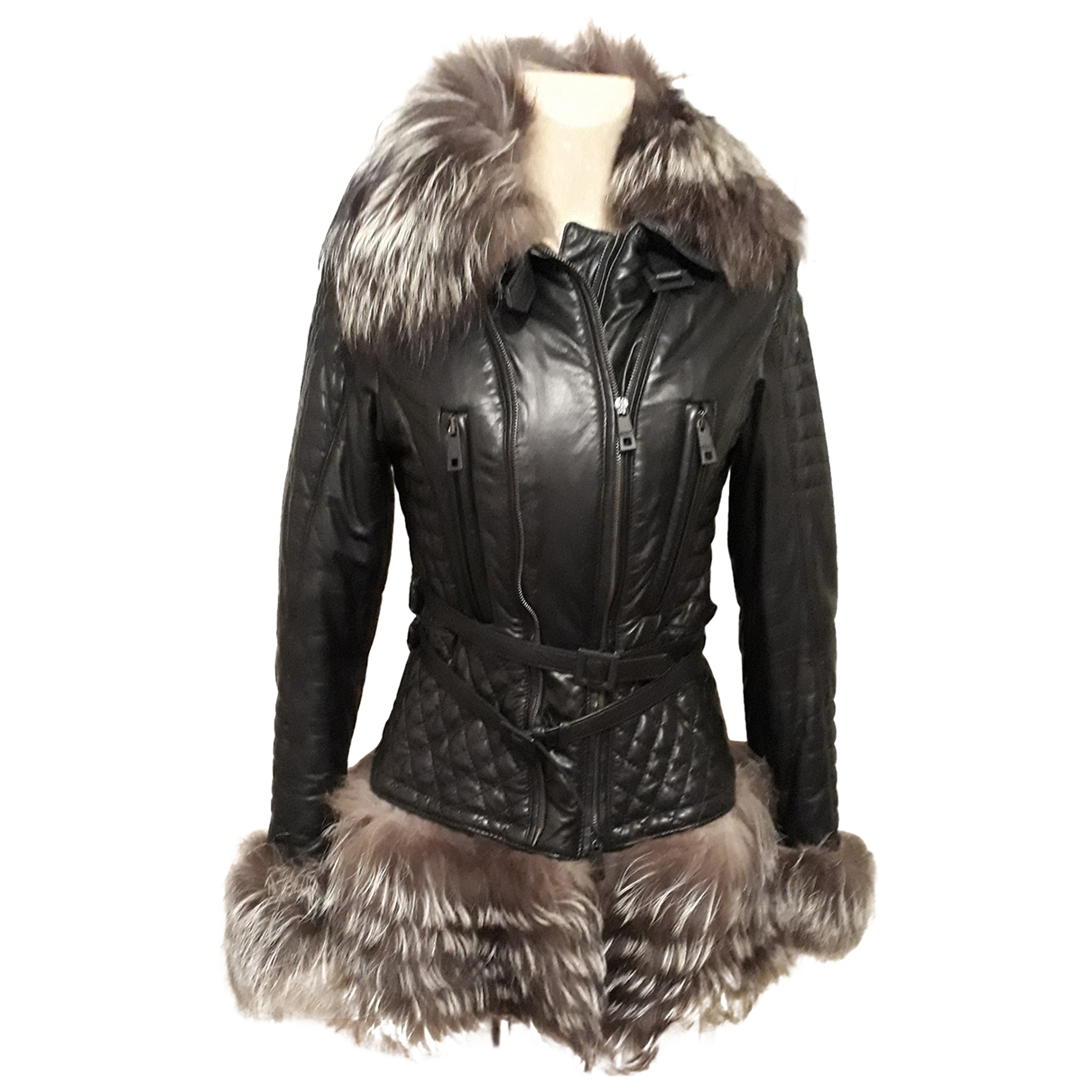 Non Signé / Unsigned \N Black Raccoon coat for Women 42 FR