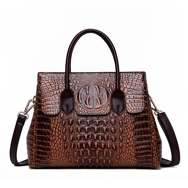 Women Retro Crocodile Pattern Handbag PU Leather Crossbody Bag