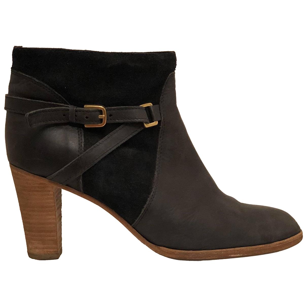 Comptoir Des Cotonniers \N Black Leather Ankle boots for Women 41 EU