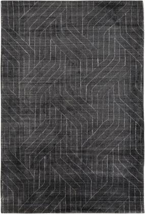 Hightower HTW-3011 6' x 9' Rectangle Modern Rug in Charcoal  Black