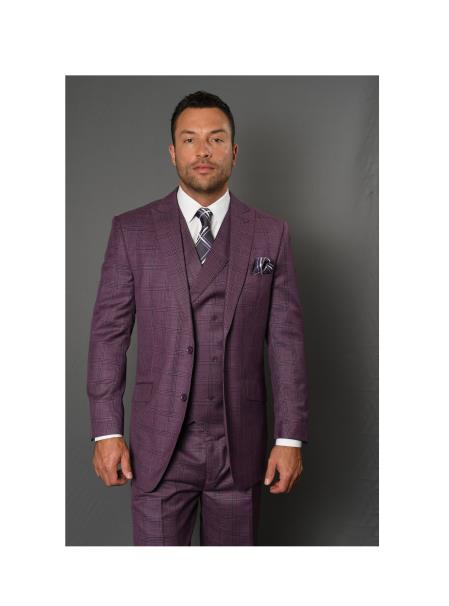 Brand Mens REGULAR ITALIAN Wool FABRIC With Vest Canon Mauve