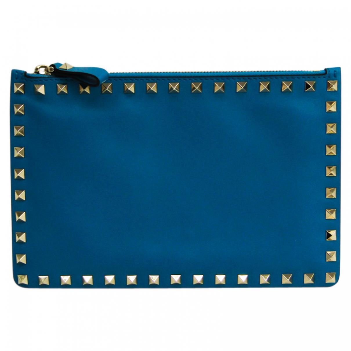 Valentino Garavani - Pochette   pour femme en cuir - bleu