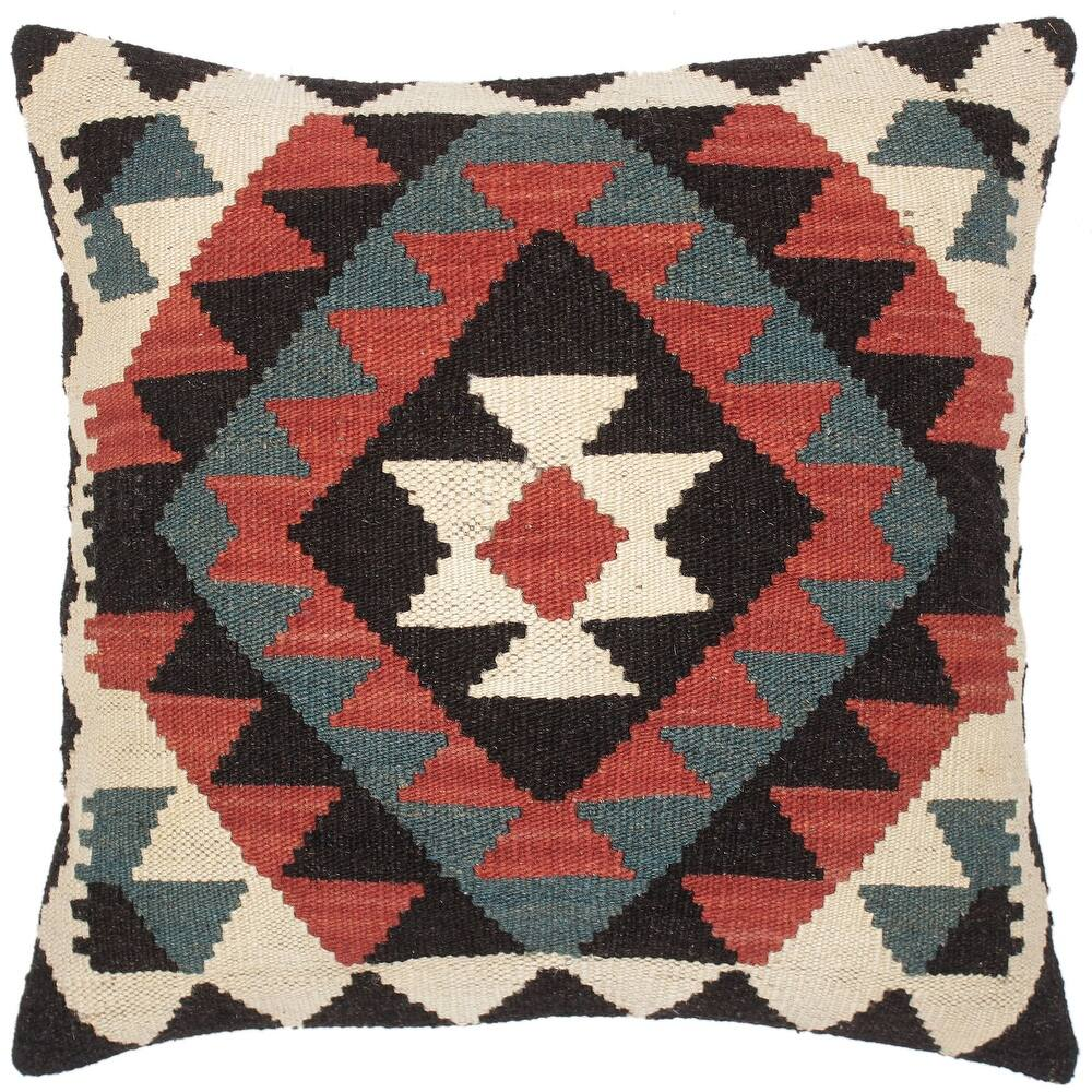 Bauhaus Jarrod Hand-Woven Turkish Kilim Throw Pillow 20 in. x 20 in. (Accent - 20 in. x 20 in. - Polyester - Rust - Single)
