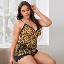 Plus Leopard Lace Trim Lingerie Set