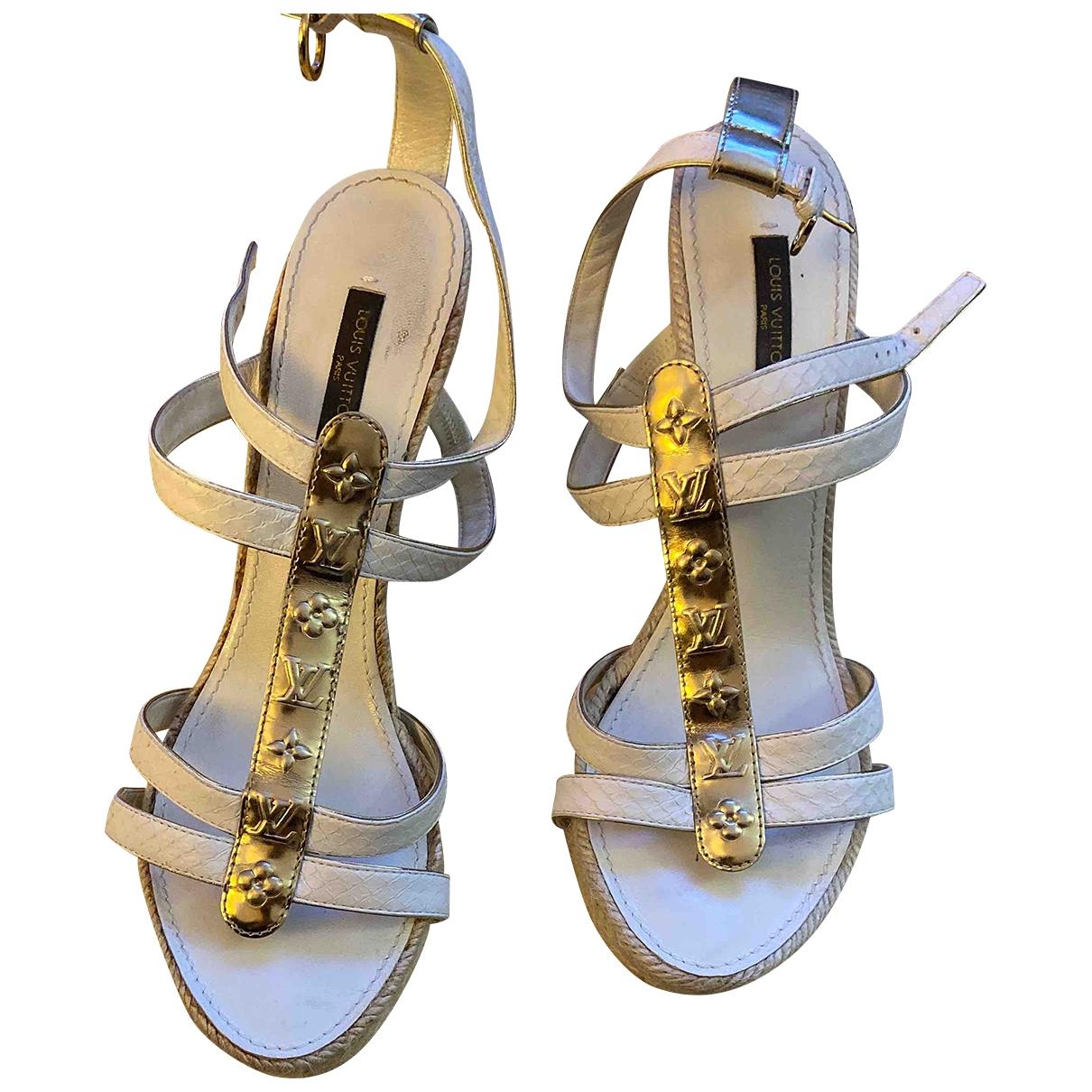 Louis Vuitton - Sandales   pour femme en toile - beige