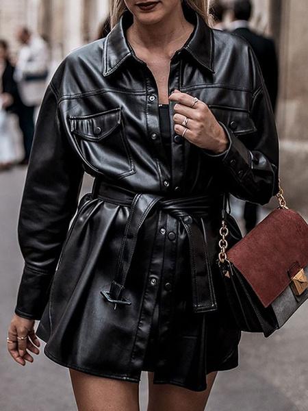 Milanoo Chaquetas de invierno para mujer Chaqueta de manga larga con cuello vuelto de cuero PU negro con cinturon