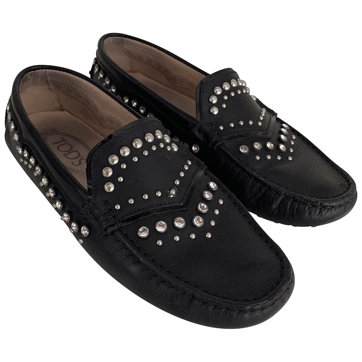 Tod's \N Black Leather Flats for Women 37.5 EU