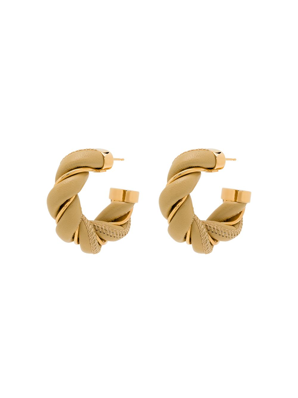 Leather/brass Twist Hoop Earrings