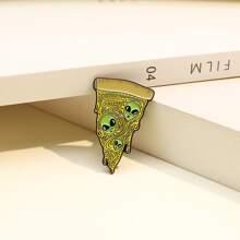 Pizza & Alien Design Brooch