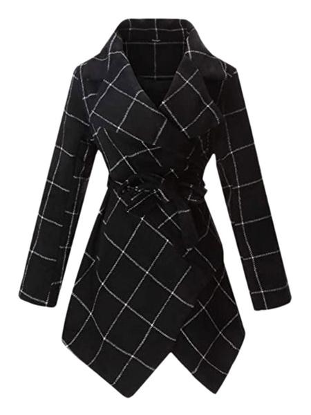 Milanoo Abrigo de mujer Cuello vuelto negro Mangas largas Abrigo cruzado informal de cuadros anudados