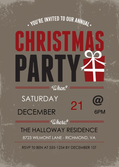 Christmas & Holiday Party Invitations Flat Glossy Photo Paper Cards with Envelopes, 5x7, Card & Stationery -Vintage Christmas