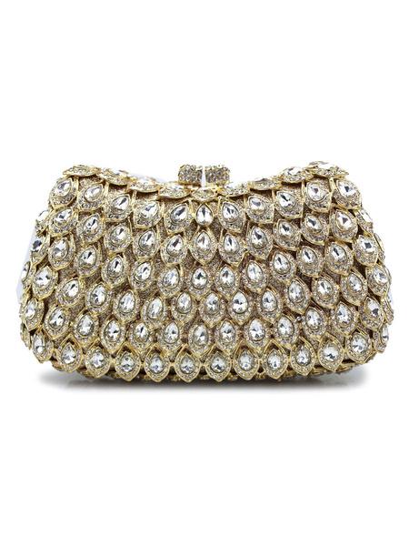 Milanoo Evening Clutch Bags Crystal Checkered Magnetic Snap Closure Bride Handbag