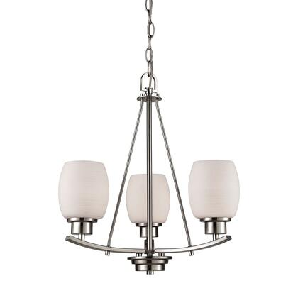 Cn170322 Casual Mission 3 Light Chandelier In Brushed Nickel With White Lined