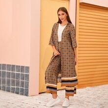 Conjunto chaqueta con estampado tribal de rayas con pantalones