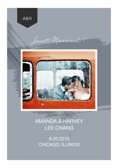 Just Married 5x7 Cards, Standard Cardstock 85lb, Card & Stationery -Paint Just Married Wedding Set