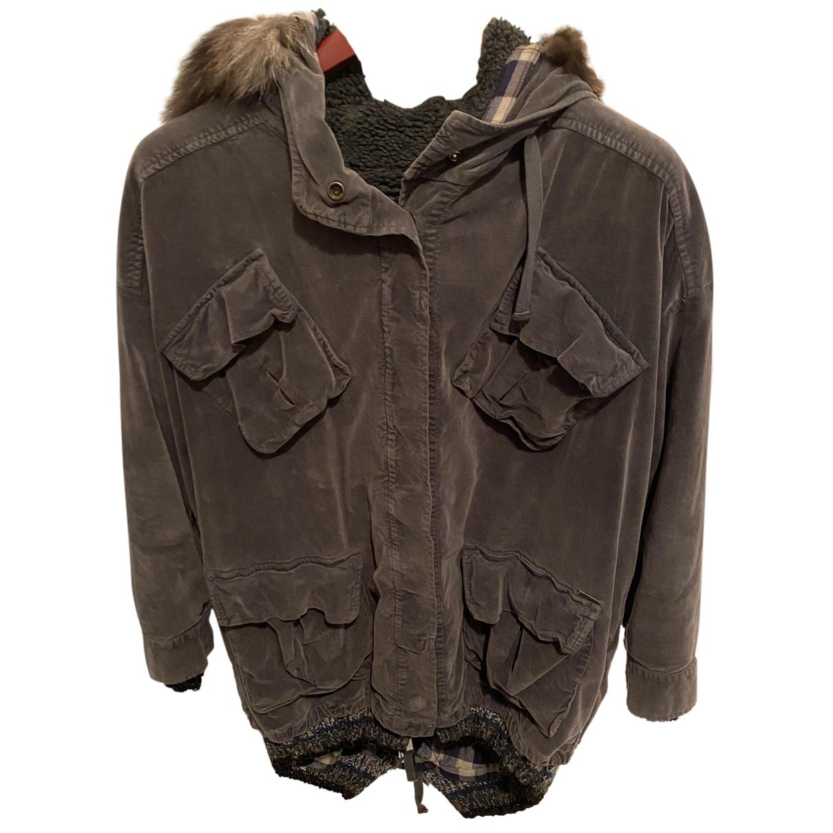 Ottodame - Manteau   pour femme en velours - anthracite