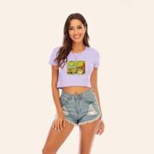 Crop T-Shirt mit Karten Muster und gekraeuseltem Saum