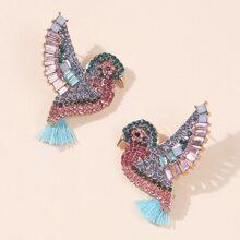 Rhinestone Bird Design Stud Earrings