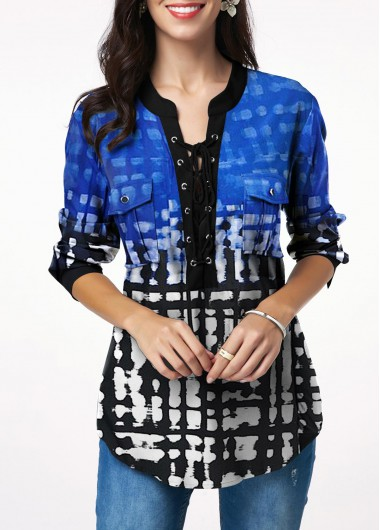 Women'S Blue Lace Up Printed Curved Hem T Shirt With Chest Pocket Long Sleeve Tunic Casual Top By Rosewe - 14