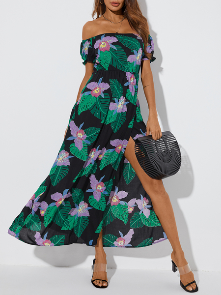 YOINS Black Tropical High Slit Off the Shoulder Short Sleeves Maxi Dress