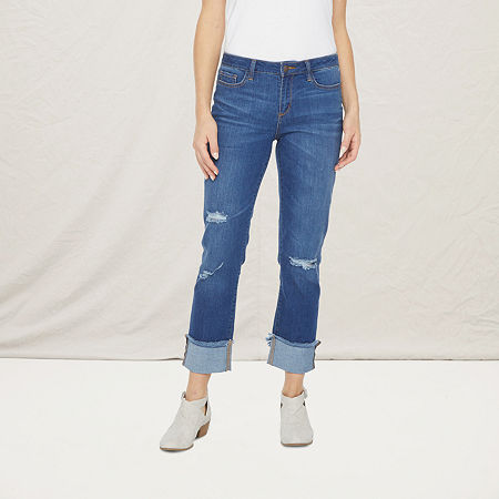 a.n.a Womens Ripped Straight Jean, 10 , Blue