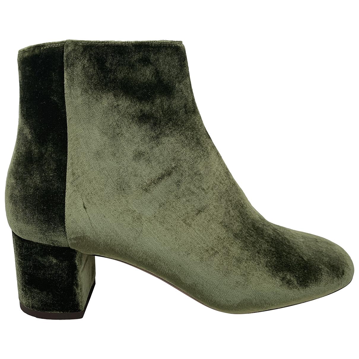 Aquazzura - Boots   pour femme en velours - vert