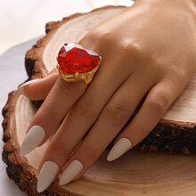 1pc Gemstone Decor Heart Decor Ring