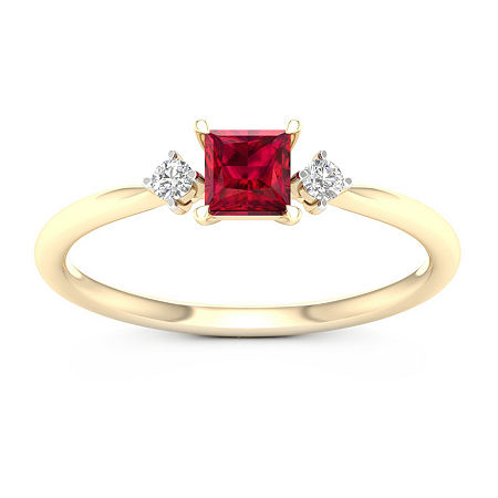 Womens Genuine Red Ruby 10K Gold Promise Ring, 7 , No Color Family