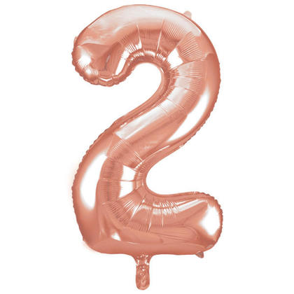 Number 2 Foil Balloon Rose Gold 34