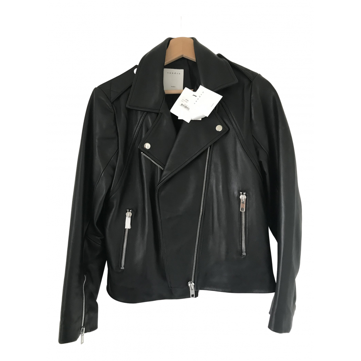 Sandro Fall Winter 2019 Black Leather Leather jacket for Women 40 FR