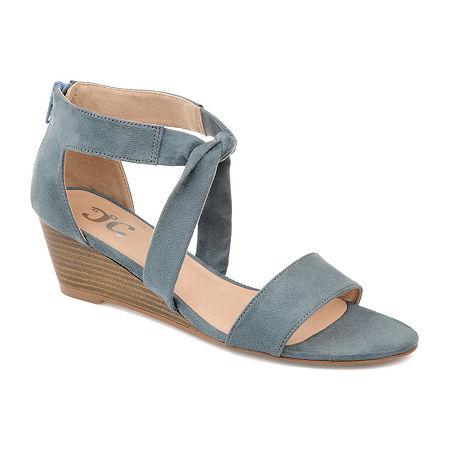 Journee Collection Womens Mattie Zip Open Toe Wedge Heel, 7 Medium, Blue