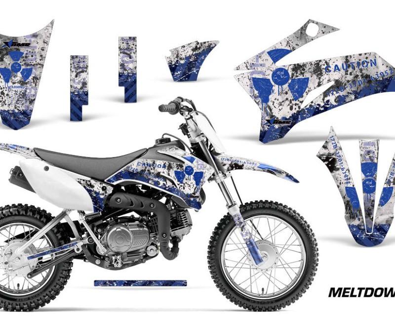 AMR Racing Dirt Bike Graphics Kit Decal Sticker Wrap For Yamaha TTR110 2008-2018áMELTDOWN BLUE WHITE