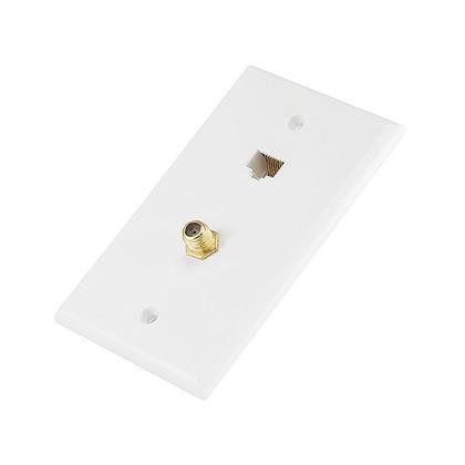 Cat5e / F-Type Wall Plate (Cat5e + F-Type) - Coupler Type - Monoprice®