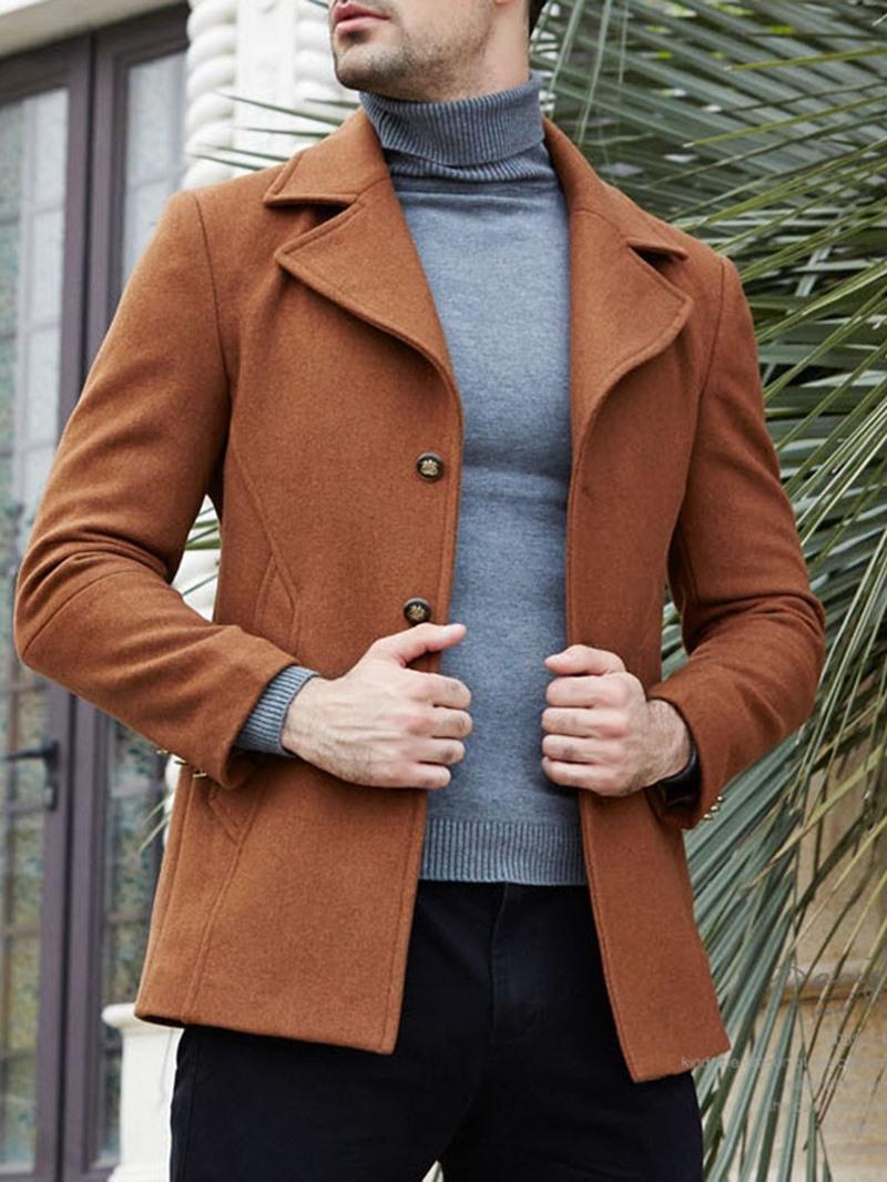 Ericdress Plain Notched Lapel Mens Casual Slim Wool Coat