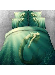 Beautiful Mermaid in the Sea Print 5-Piece Comforter Sets