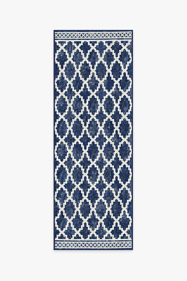 Washable Rug Cover   Outdoor Cleo Trellis Royal Blue Rug   Stain-Resistant   Ruggable   2.5'x7'