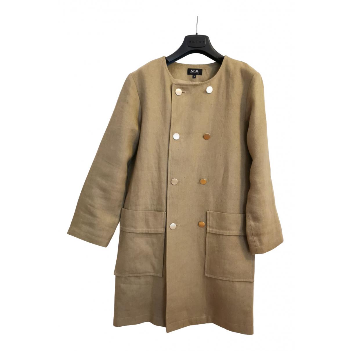 Apc - Manteau   pour femme en lin - kaki