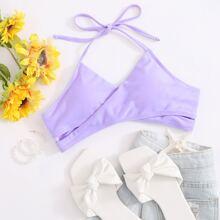 Wrap Halter Tie Back Bikini Top