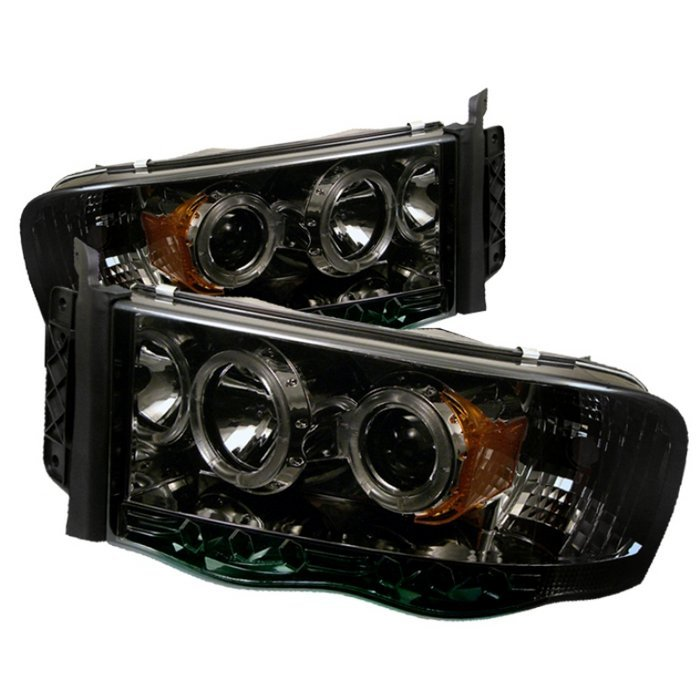 Spyder Auto PRO-YD-DR02-HL-SMC Smoke LED Halo Projector Headlights with High H1 and Low H1 Lights Included Dodge Ram 2500 | 3500 03-05