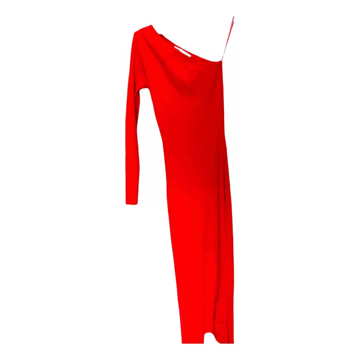 Zara - Robe   pour femme en coton - elasthane - rouge