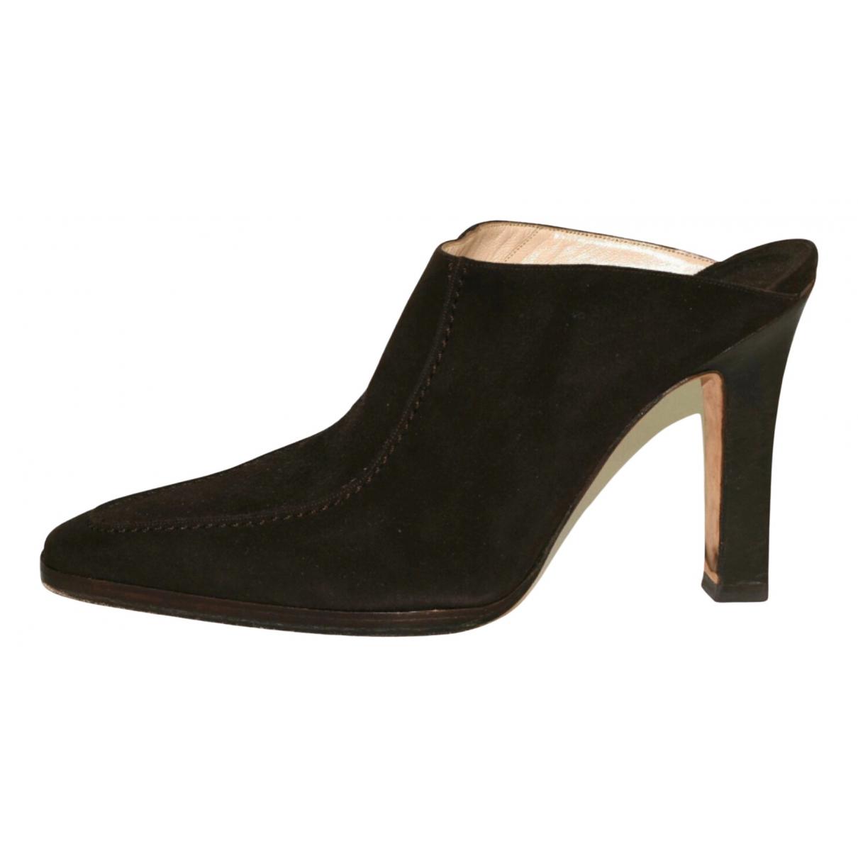 Manolo Blahnik N Brown Suede Sandals for Women 38.5 EU