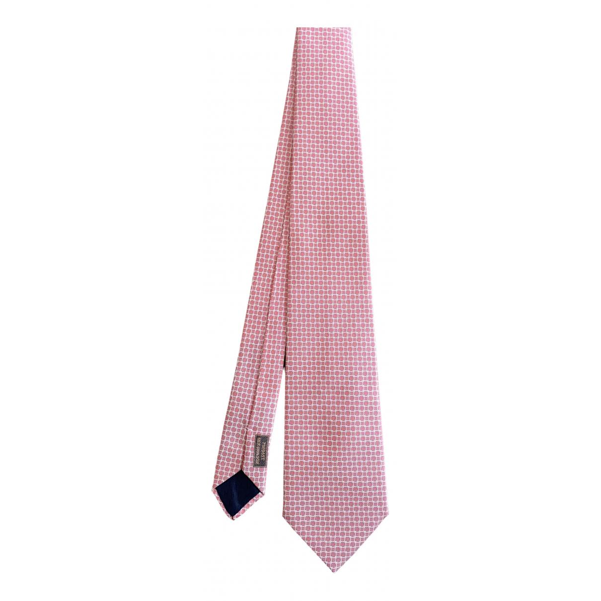 Hermes \N Krawatten in  Rosa Seide