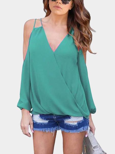 Yoins Green V-neck Cold Shoulder Top