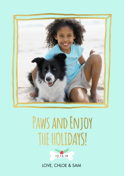Christmas Photo Cards 5x7 Cards, Premium Cardstock 120lb with Rounded Corners, Card & Stationery -Paws and Enjoy